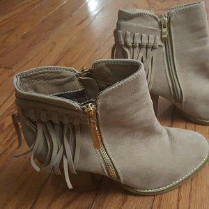 Bella Mare Vegan Suede fringe ankle boots size 8.5
